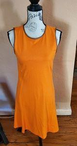 Orange with brown trim dress